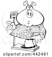Royalty Free RF Clip Art Illustration Of A Cartoon Black And White Outline Design Of A Heavy Pig Eating A Donut On The Scale