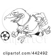 Royalty Free RF Clip Art Illustration Of A Cartoon Black And White Outline Design Of A Soccer Hawk