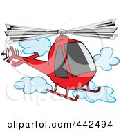 Royalty Free RF Clip Art Illustration Of A Cartoon Helicopter In The Clouds by toonaday