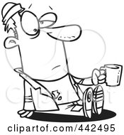 Royalty Free RF Clip Art Illustration Of A Cartoon Black And White Outline Design Of A Homeless Man Sitting And Holding A Cup by toonaday