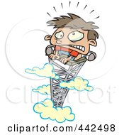 Royalty Free RF Clip Art Illustration Of A Cartoon Scared Boy On Top Of A Tower