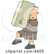 Delivery Man Carrying A Big PackageBox Clipart by djart