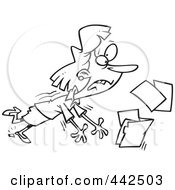 Royalty Free RF Clip Art Illustration Of A Cartoon Black And White Outline Design Of A Businesswoman Breaking Her Heel And Spilling Files