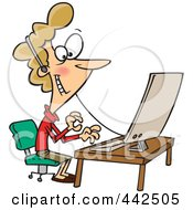 Royalty Free RF Clip Art Illustration Of A Cartoon Friendly Woman Wearing A Headset At Her Desk by toonaday #COLLC442505-0008