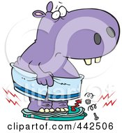Royalty Free RF Clip Art Illustration Of A Cartoon Heavy Hippo Crushing A Scale by toonaday