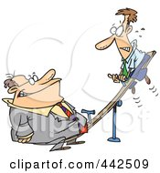 Royalty Free RF Clip Art Illustration Of A Cartoon Heavyweight Businessman On A See Saw