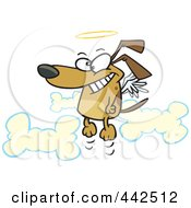 Royalty Free RF Clip Art Illustration Of A Cartoon Angel Dog In Heaven
