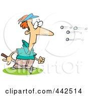 Royalty Free RF Clip Art Illustration Of Cartoon Golf Balls Flying At A Golfer