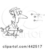 Royalty Free RF Clip Art Illustration Of A Cartoon Black And White Outline Design Of Golf Balls Flying At A Golfer
