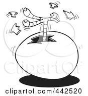 Royalty Free RF Clip Art Illustration Of A Cartoon Black And White Outline Design Of A Chick Kicking A Foot Out Of An Egg by toonaday