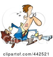 Royalty Free RF Clip Art Illustration Of A Cartoon Hasty Businessman Running