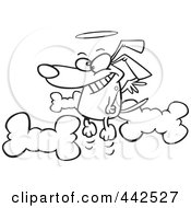 Royalty Free RF Clip Art Illustration Of A Cartoon Black And White Outline Design Of An Angel Dog In Heaven
