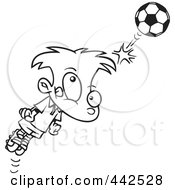 Royalty Free RF Clip Art Illustration Of A Cartoon Black And White Outline Design Of A Soccer Boy Bouncing A Ball Off His Head