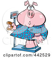 Royalty Free RF Clip Art Illustration Of A Cartoon Heavy Pig Eating A Donut On The Scale