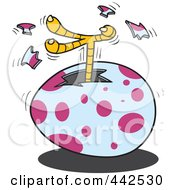 Royalty Free RF Clip Art Illustration Of A Cartoon Chick Kicking A Foot Out Of An Egg by toonaday