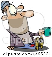 Royalty Free RF Clip Art Illustration Of A Cartoon Homeless Man Sitting And Holding A Cup by toonaday