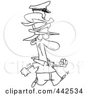 Royalty Free RF Clip Art Illustration Of A Cartoon Black And White Outline Design Of A Man Wearing Many Hats