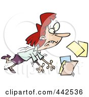 Royalty Free RF Clip Art Illustration Of A Cartoon Businesswoman Breaking Her Heel And Spilling Files by toonaday