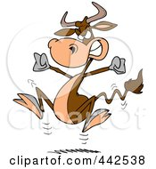 Royalty Free RF Clip Art Illustration Of A Cartoon Bull Having A Cow by toonaday