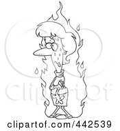 Royalty Free RF Clip Art Illustration Of A Cartoon Black And White Outline Design Of A Woman Experiencing A Hot Flash by toonaday