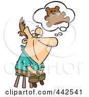 Royalty Free RF Clip Art Illustration Of A Cartoon Man Thinking Of His Teddy Bear