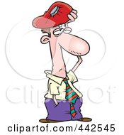 Cartoon Migraine Ridden Businessman Holding An Ice Pack To His Head