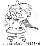 Royalty Free RF Clip Art Illustration Of A Cartoon Black And White Outline Design Of A Little Girl Attacking A Computer by Ron Leishman