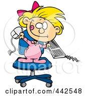 Cartoon Little Girl Attacking A Computer
