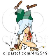 Royalty Free RF Clip Art Illustration Of Cartoon Coins Falling Out Of A Businessmans Pocket As Hes Doing A Hand Stand
