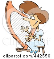 Royalty Free RF Clip Art Illustration Of A Cartoon Woman Playing A Harp