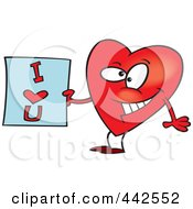 Royalty Free RF Clip Art Illustration Of A Cartoon Heart Holding An I Love You Sign by toonaday