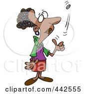 Cartoon Black Woman Flipping A Coin