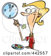 Cartoon Woman Eating A Healthy Lunch
