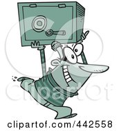 Royalty Free RF Clip Art Illustration Of A Cartoon Robber Heisting A Safe