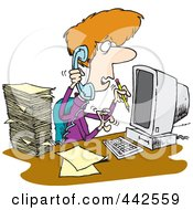 Royalty Free RF Clip Art Illustration Of A Cartoon Stressed Assistant Multi Tasking by toonaday