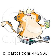 Royalty Free RF Clip Art Illustration Of A Cartoon Fat Orange Cat Binging Fast Food by toonaday