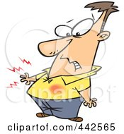 Royalty Free RF Clip Art Illustration Of A Cartoon Man Feeling Heart Burn