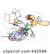 Royalty Free RF Clip Art Illustration Of A Cartoon Fast Businessman On Wheels by toonaday