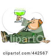 Royalty Free RF Clip Art Illustration Of A Drunk Leprechaun Sitting On The Floor And Toasting by Dennis Cox