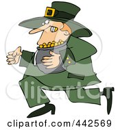 Royalty Free RF Clip Art Illustration Of A Leprechaun Running Away With His Gold