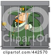 Royalty Free RF Clip Art Illustration Of A Locked Up Leprechaun