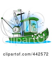 Royalty Free RF Clip Art Illustration Of A Leprechaun Steering A Fishing Boat