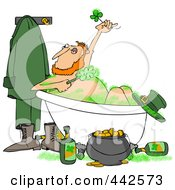 Royalty Free RF Clip Art Illustration Of A Leprechaun Bathing With Green Suds And Alcohol by Dennis Cox