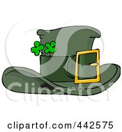 Royalty Free RF Clip Art Illustration Of A Green Leprechaun Hat With Shamrocks by Dennis Cox