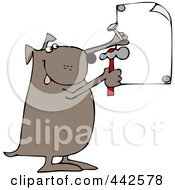 Royalty Free RF Clip Art Illustration Of A Dog Nailing Up A Sign