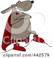 Royalty Free RF Clip Art Illustration Of A Super Hero Dog Standing Proudly In His Cape
