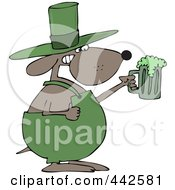 Royalty Free RF Clip Art Illustration Of A St Patricks Day Dog Holding A Green Beer
