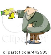 Royalty Free RF Clip Art Illustration Of An Old Man Balancing With His Cane And Pointing A Taser Gun