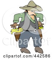 Royalty Free RF Clip Art Illustration Of A Cowboy Drawing Taser Guns by djart