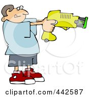 Royalty Free RF Clip Art Illustration Of A Young Man Using A Taser by Dennis Cox